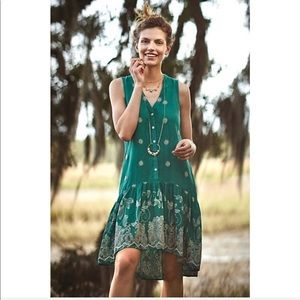 Anthropologie Dress Green Floral Embroidered